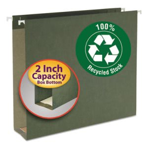 Smead 2 Inch Capacity Hanging File Folders, Green, 25 per Box (SMD65090)