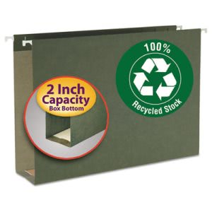 "Smead 2"" Capacity Box Bottom Hanging Folders, Legal, Green, 25/Box (SMD65095)"