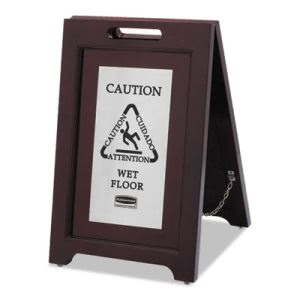 "Rubbermaid 1867508 Multi-Lingual ""Wet Floor"" Sign, Brown/Stainless (RCP1867508)"