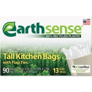 13 Gallon White Garbage Bags, 24x28, 0.7mil, 90 Bags (WBIGES6FK90)