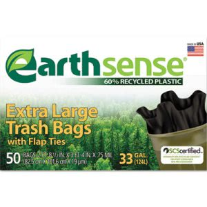 33 Gallon Black Garbage Bags, 33x40, 0.75mil, 50 Bags (WBIGES6FTL50)