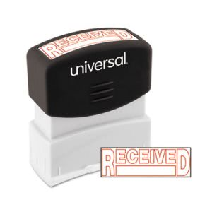 Universal Message Stamp, RECEIVED, Pre-Inked/Re-Inkable, Red (UNV10067)