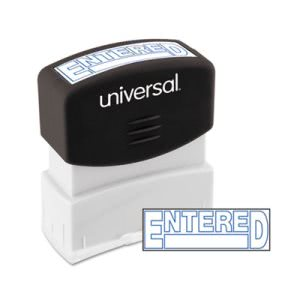 Universal Message Stamp, ENTERED, Pre-Inked/Re-Inkable, Blue (UNV10052)