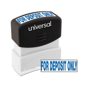 Universal Message Stamp, for DEPOSIT ONLY, Pre-Inked/Re-Inkable, Blue (UNV10056)