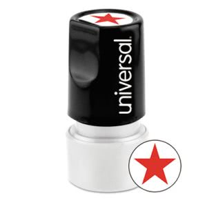 Universal Round Message Stamp, STAR, Pre-Inked/Re-Inkable, Red (UNV10081)