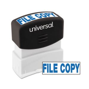 Universal Message Stamp, FILE COPY, Pre-Inked/Re-Inkable, Blue (UNV10104)