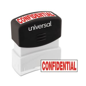 Universal Message Stamp, CONFIDENTIAL, Pre-Inked/Re-Inkable, Red (UNV10046)