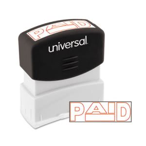 Universal Message Stamp, PAID, Pre-Inked/Re-Inkable, Red (UNV10062)