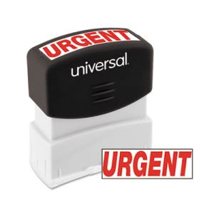 Universal Message Stamp, URGENT, Pre-Inked/Re-Inkable, Red (UNV10070)