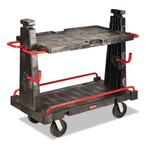 "Rubbermaid 4465 Convertible A Frame Truck (24"" x 44""), Blk/Rd (RCP4465)"