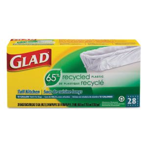 Glad 13 Gallon White Recycled Kitchen Garbage Bags, .75 mil, 12 Boxes (CLO78112)