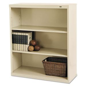 Tennsco Metal Bookcase, 3 Shelves, 34-1/2w x 13-1/2d x 40h, Putty (TNNB42PY)