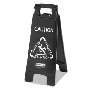Rubbermaid Executive Multi-Lingual Caution Sign, Black/White (RCP 1867505)