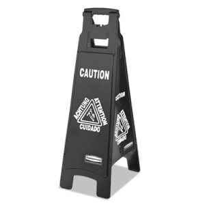 Rubbermaid 1867509 Multi-Lingual 4-Sided Caution Sign, Black/White (RCP1867509)