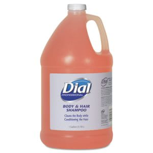 Dial Body and Hair Shampoo,4 1-gal Bottle, Gender-Neutral Peach Scent (DIA03986)