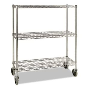 Rubbermaid ProSave Shelf Ingredient Bin Cart, Three-Shelf, Chrome (RCP9G79CHR)