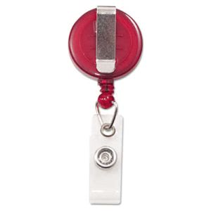 "Advantus Retractable ID Card Reel, 34"" Extension, Red, 12 per Pack (AVT75471)"
