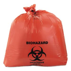 45 Gallon Red Biohazard Bags, 40x45, 3 mil, 75 Bags (HERA8046ZR)