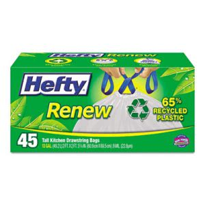 Hefty Renew Recycled 13 Gallon White Kitchen Trash Bags, 45 Bags (RFPE48259)