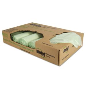 48 Gallon Compostable Garbage Bags, 48x42, 1 mil, 100 Bags (HERY8448YER01)