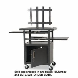 Height-Adjustable Flat Panel TV Cart, 4-Shelf, 24w x 18d x 46h, Black (BLT27532)