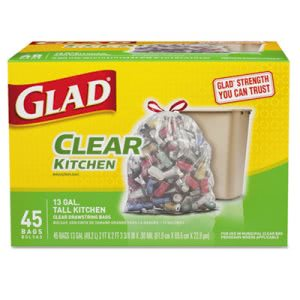 Glad 13 Gallon Clear Kitchen Recycling Garbage Bags, 45 Bags (CLO78543)