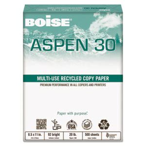 Boise ASPEN Recycled Office Paper, 92 Bright, 11 x 17, 2500 /Carton (CAS054907)