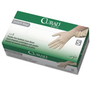 Curad Synthetic Vinyl Exam Gloves, Powder-Free, Small, 150/Box (MII6CUR9224)