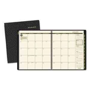 "At-a-glance Recycled Monthly Planner, Black, 9"" x 11"", 2016-2017 (AAG70260G05)"
