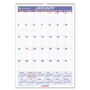 "At-a-glance Recycled Wall Calendar, Blue and Red, 12"" x 17"", 2016 (AAGPM228)"