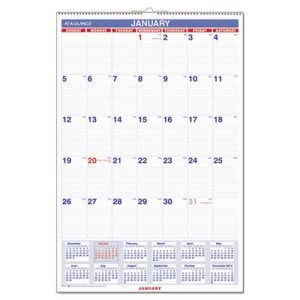 "At-a-glance Monthly Wall Calendar, Blue and Red, 20"" x 30"", 2017 (AAGPM428)"