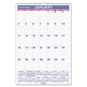 At-A-Glance Recycled Monthly Wall Calendar, Blue/Red, 2017 (AAGPM328)