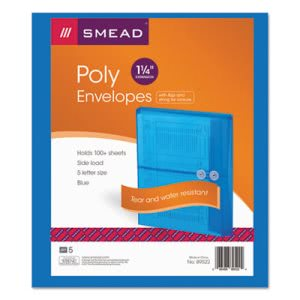 Poly String & Button Booklet Envelope, Blue, 5 Envelopes (SMD89522)