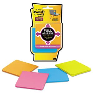 Post-it Notes Super Sticky Full Adhesive Notes, Assorted, 4 Pads (MMMF3304SSAU)