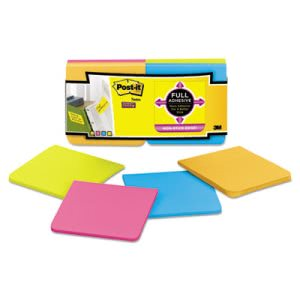 Post-it Super Sticky Full Adhesive Notes, 3 x 3, Assorted Bright Colors, 12/Pack (MMMF33012SSAU)