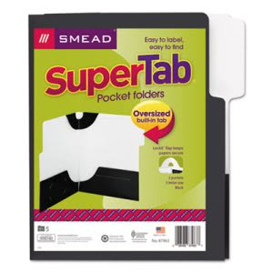 Smead SuperTab Two-Pocket Folders, Letter Size, Black, 5/Pack (SMD87963)
