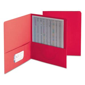 Smead Two-Pocket Portfolio, Embossed Leather Grain Paper, Red, 25/Box (SMD87859)