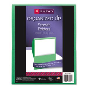 Smead Textured Stackit Folders, Letter Size, Green, 10/Pack (SMD87915)