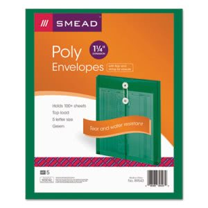 Smead Poly String & Button Envelope, Green, 5/Pack (SMD89543)