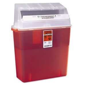 Medline Rectangular Plastic Sharps Container, 3 Gallon, Red (MIIMDS705203H)