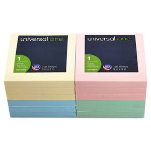 Universal Fan-Folded Pop-Up Notes, 3 x 3, 4 Pastel Colors, 12 100-Sheet Pads/Pack (UNV35619)