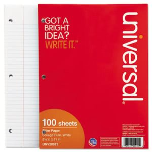 Universal Mediumweight 16-lb. Filler Paper, 11 x 8-1/2, College Ruled, White, 100 Shts/Pk (UNV20911)