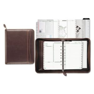 Day-Timer Sienna Simulated Leather Zippered Organizer Set, Brown (DTM48532)