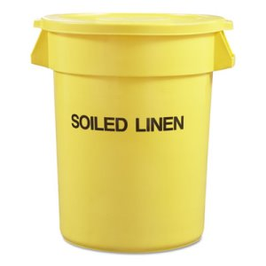 "Rubbermaid Commercial Round Brute Container with ""Trash Only"" Imprint, Plastic, 33 gal, Yellow (RCP263957YEL)"