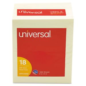 Universal Standard Self-Stick Notes, Yellow, 18 100-Sheet Pads/Pack (UNV35692)