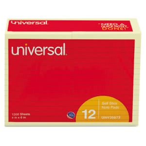 Universal Standard Self-Stick Notes, 4 x 6, Lined, Yellow, 12 100-Sheet Pads/Pack (UNV35673)