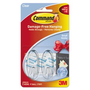 Command Clear Hooks and Strips, Small, 2 Hooks with 4 Adhesive Strips per Pack (MMM17092CLRES)