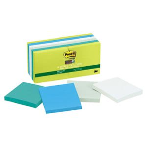 Post-it Super Sticky Pads, Five Tropic Breeze Colors, 12 Pads/Pack (MMM65412SST)