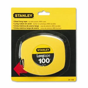 "Stanley Bostitch Long Tape Measure, 1/8"" Graduations, 100ft, Yellow (BOS34106)"