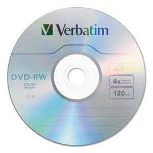 Verbatim DVD-RW Discs, 4.7GB, 4x, Spindle, 30/Pack (VER95179)